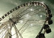 Ferris Wheel At Night In Paris Print by Marianna Mills