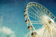 Sky Blue Framed Prints - Ferris wheel retro Framed Print by Jane Rix