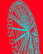 Ramona Johnston Framed Prints - Ferris Wheel Silhouette Turquoise Red Framed Print by Ramona Johnston