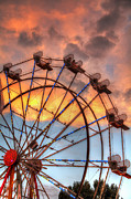 Pomona Prints - Ferris Wheel Sunset Print by Eddie Yerkish