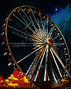 Theme Parks Framed Prints - Ferris Wheel v1 Framed Print by Wingsdomain Art and Photography
