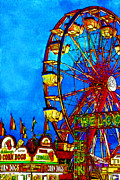 Fantasies Digital Art Framed Prints - Ferris Wheel v2 Framed Print by Wingsdomain Art and Photography