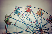 Tint Prints - Ferris Wheel Vintage Photo in Newport Beach California Print by Paul Velgos