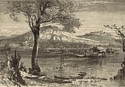 Tennessee River Drawings - Ferry at Chattanooga 1872 Engraving by Harry Fenn by Antique Engravings