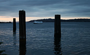 Alki Beach Posters - Ferry from Alki Beach Seattle Poster by Tammy Arnold