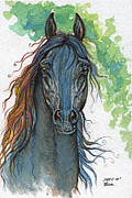 Horse Drawing Prints - Ferryt polish black arabian horse Print by Angel  Tarantella