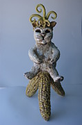 Corn Ceramics - Fertility Cat by Susan  Brown  Slizys artist name