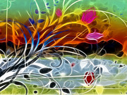 Abstract Flowers Digital Art - Festival by Ann Croon