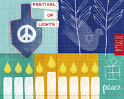 Menorah Mixed Media Prints - Festival Of Lights Print by Linda Woods