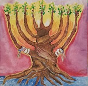 Menorah Paintings - Festival of New by Paula Stacy Adams