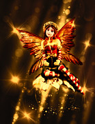 Faerie Digital Art Metal Prints - Festive Amber Fairy Metal Print by Bill Tiepelman