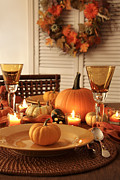 Banquet Posters - Festive autumn place settings for Thanksgiving Poster by Sandra Cunningham
