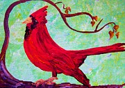 Party Paintings - Festive Cardinal by Eloise Schneider