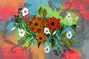 Multicolored Daisy Prints - Festive Floral Print by Nancy Long