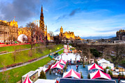 Princes Digital Art Prints - Festive Princes Street Gardens - Edinburgh Print by Mark E Tisdale