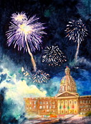 Fireworks Painting Metal Prints - Festive Season Metal Print by Mohamed Hirji