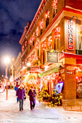 Snowy Night Night Digital Art Prints - Festive Streets of Old Quebec Print by Mark E Tisdale