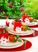 Festive Table Setting Print by Anna Omelchenko