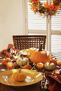 Banquet Prints - Festive table settings for Thanksgiving Print by Sandra Cunningham