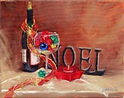 Red Wine Bottle Prints - Festive Two Print by Laura Lee Zanghetti