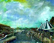 Bannister Painting Originals - Festivities on Bowens Wharf by George Delany