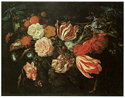 Beautiful Flowers Paintings - Festoon of Flowers by Jan Davidsz De Heem