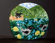 Mountains Ceramics - Fetching a Stick by Debbie Limoli