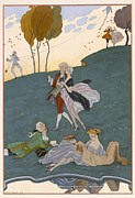 Couples Painting Prints - Fetes Galantes Print by Georges Barbier