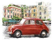 Portofino Cafe Digital Art Posters - Fiat 500 classico Poster by Michael Doyle