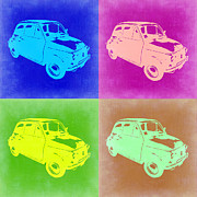 Italian Classic Car Prints - Fiat 500 Pop Art 2 Print by Irina  March