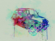 Vintage Car Drawings Prints - Fiat 500 Watercolor Print by Irina  March