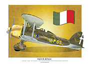 Fascism Framed Prints - Fiat falco C.R.42 Framed Print by Kenneth De Tore