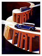 Passenger Mixed Media Prints - Fiat Vintage Advertising Poster Print by Gary Perron