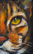 Contemporary Animal  Acrylic Paintings - Fibonaccis Feline II by Rosemary Conroy