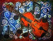 Batik Tapestries - Textiles Posters - Fiddle - Violin Poster by Sue Duda