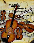 Violins Paintings - Fiddlein round by Larry E Lamb