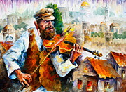 Judaic Framed Prints - Fiddler  in Jerusalem 2 NEW Framed Print by Leonid Afremov