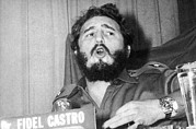 Greater Antilles Posters - Fidel Castro Speaking Poster by Underwood Archives