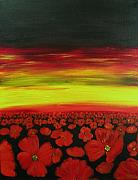 Simpson Paintings - Field of Crimson by Joanne Simpson