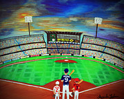 Baseball Gloves Painting Prints - Field of Dreams Print by Amanda Ladner