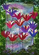 Purple Flowers Tapestries - Textiles Posters - Field of Dreams Poster by Jean Baardsen