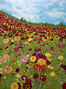 Poppies Field Paintings - Field of Flowers--Poppies by Ivy Stevens-Gupta