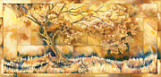 Gold Mixed Media Originals - Field of Gold  by David Evans