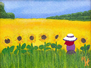 Field Of Sunflowers Paintings - Field of Gold by Margaret Harmon