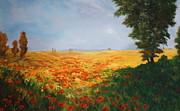 Poppies Field Paintings - Field of Poppies by Jean Walker
