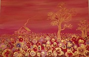 Jewel Tone Paintings - Field of Poppies by Linda  Lavid