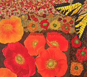 Butterfly Tapestries - Textiles Metal Prints - Field of Poppies Metal Print by Patty Caldwell