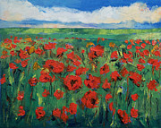 Oleo Framed Prints - Field of Red Poppies Framed Print by Michael Creese