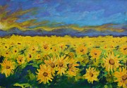 Field Of Sunflowers Paintings - Field of Sunflowers 2009 by Piotr Wolodkowicz