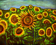 Field Of Sunflowers Paintings - Field of Sunflowers by Erica Belcher